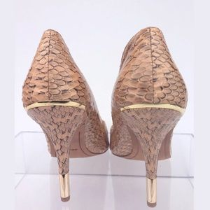 Dolce Vita Shoes - DOLCE VITA Beige Snake Print Patent Leather Heels
